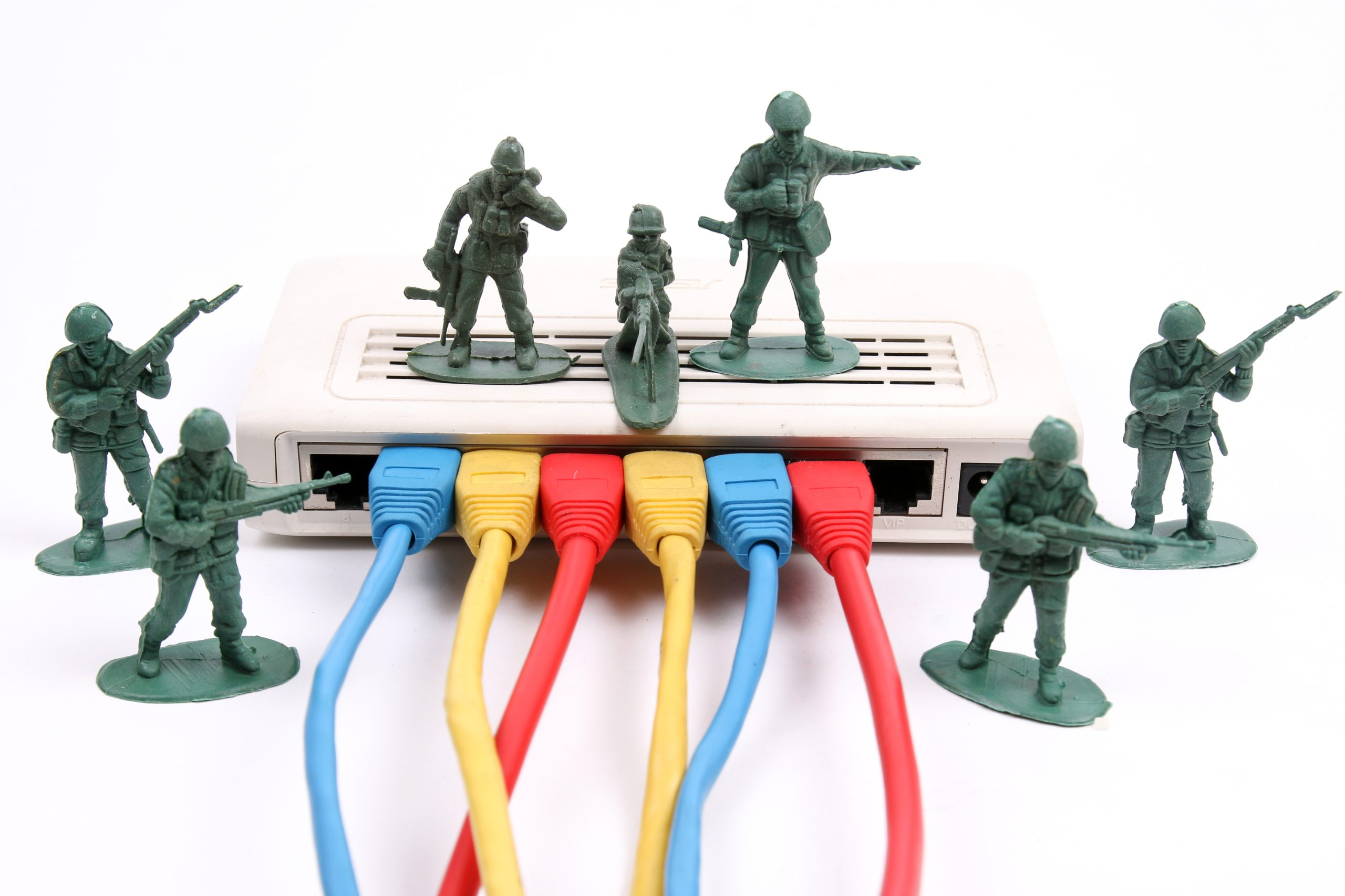 Toy soldiers guarding network router